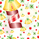 seamless pattern with Christmas bells and ribbons