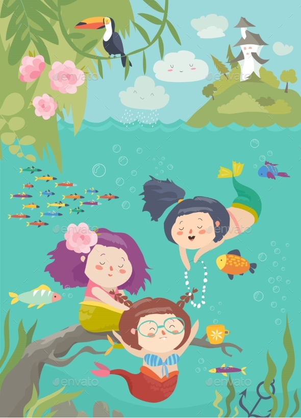 Cartoon Mermaids with Animals - Miscellaneous Vectors