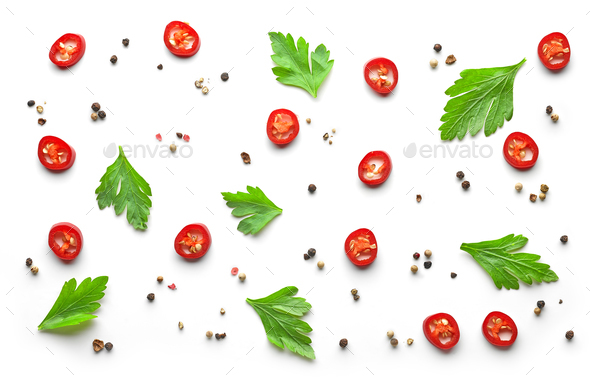 pattern of spices on white background - Stock Photo - Images