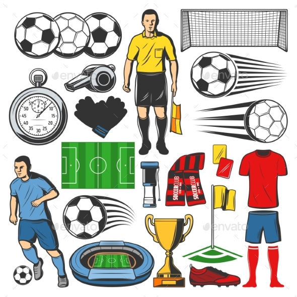Vector Items of Football or Soccer Sport - Sports/Activity Conceptual