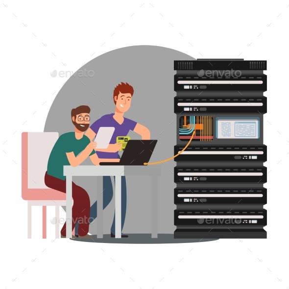 Cartoon Computer Engineers Working with Server - Miscellaneous Vectors