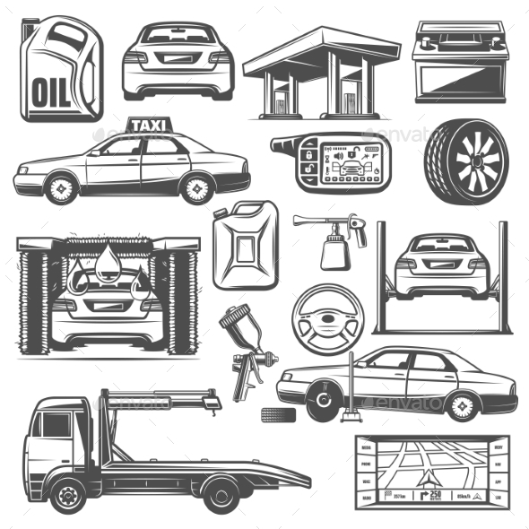 Repair and Service Car Maintenance Icons Vector - Miscellaneous Vectors