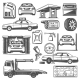Repair and Service Car Maintenance Icons Vector