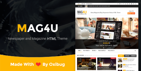 Mag4u - Responsive Retina HTML News, Magazine, Blog - Creative Site Templates