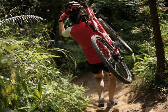 Cyclist carrying a mountain bike in the forest - Stock Photo - Images