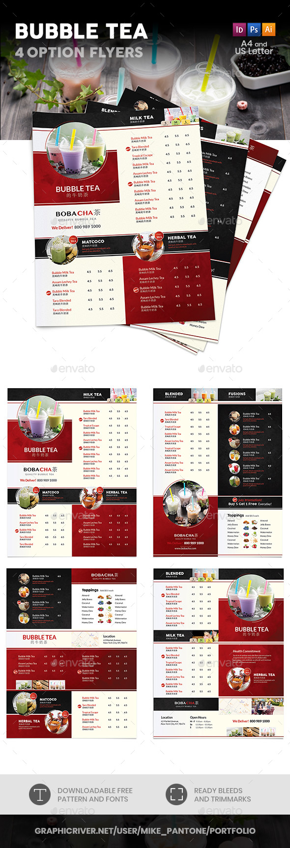 Bubble Tea Cafe Menu Flyers 2 – 4 Options - Food Menus Print Templates