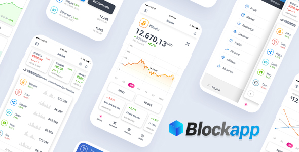 BlockApp - Crypto Currency Mobile App PSD Template - Technology PSD Templates