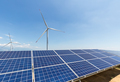 solar panel and wind turbine against a clear sky - PhotoDune Item for Sale