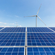 solar panel and wind turbine against a clear sky, clean energy landscape - PhotoDune Item for Sale