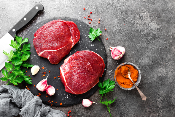 Raw beef meat. Fresh beef steaks - Stock Photo - Images