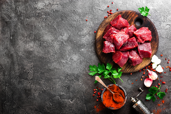Raw beef meat. Fresh sliced beef sirloin - Stock Photo - Images