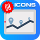 60 Map & Navigation Color Vector Icons Set