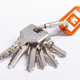 Key ring with keys over white background. Rent, buy - PhotoDune Item for Sale