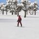 Snowboarding on a forest ski slope. White winter mountain landscape. Horizontal - PhotoDune Item for Sale
