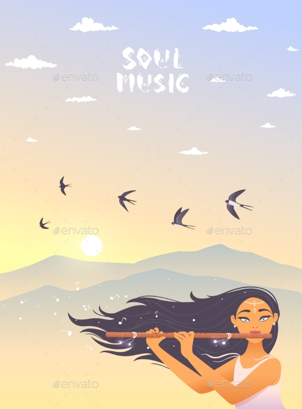 Girl with Flute - Miscellaneous Vectors