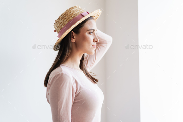 Close up portrait of a pretty young brunette girl - Stock Photo - Images