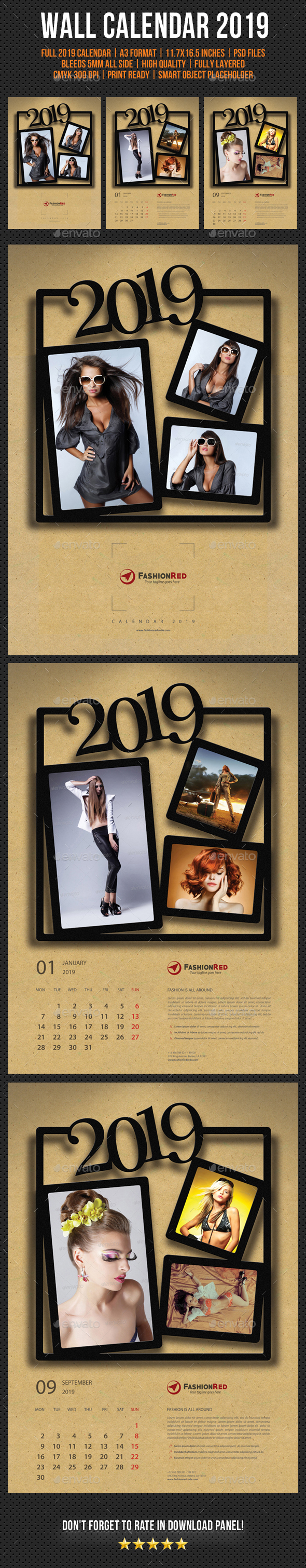 Wall Calendar A3 2019 V04 - Calendars Stationery