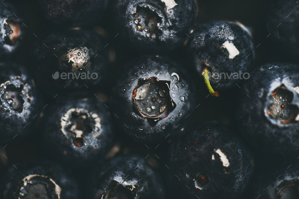 Flat-lay of wet dark forest blueberries, top view - Stock Photo - Images