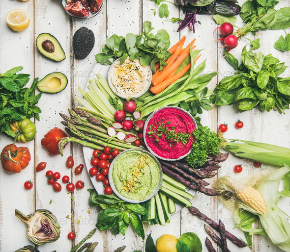 Healthy summer vegan snack plate for vegetarian party, wooden background - Stock Photo - Images