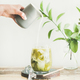 Iced matcha latte drink with coconut milk pouring from pitcher - PhotoDune Item for Sale