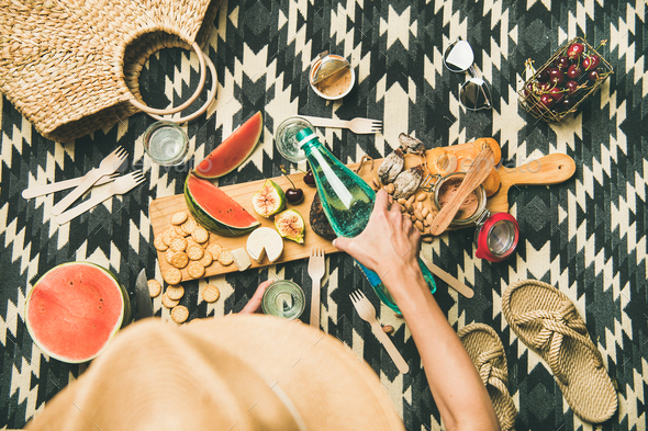 Summer beach picnic setting with charcuterie and fruits, copy space - Stock Photo - Images