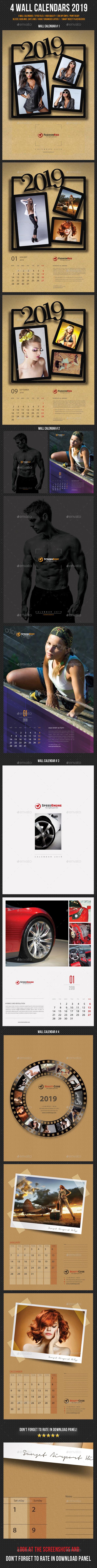 4 Wall Calendars 2019 Bundle - Calendars Stationery