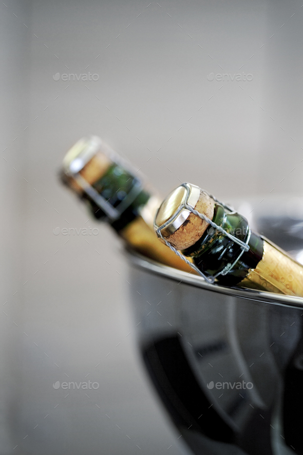 Close up of Champagne bottles - Stock Photo - Images