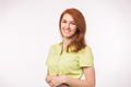 Beautiful young woman with red hair on white background - PhotoDune Item for Sale