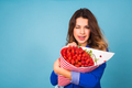 young woman with a bouquet of strawberry - PhotoDune Item for Sale
