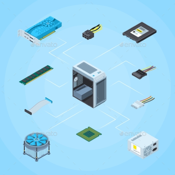 Vector Isometric Electronic Devices Infographic - Computers Technology