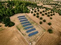 Aerial view of Solar panels farm in a field in the countryside in Greece. - PhotoDune Item for Sale