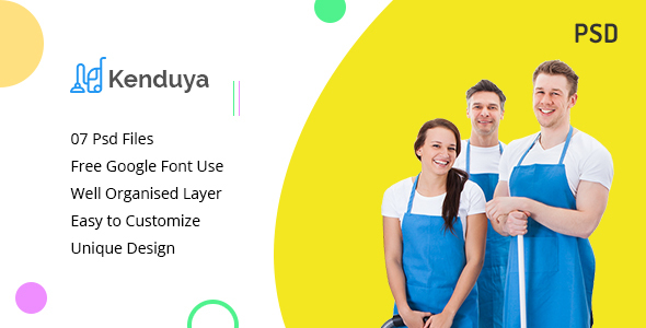 Kenduya-Cleaning Company PSD Template - PSD Templates