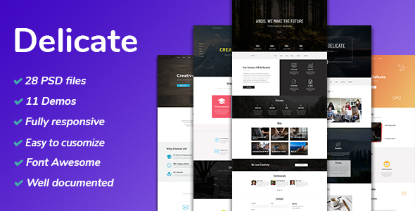 Delicate - Multipurpose Creative Agency PSD Template - PSD Templates