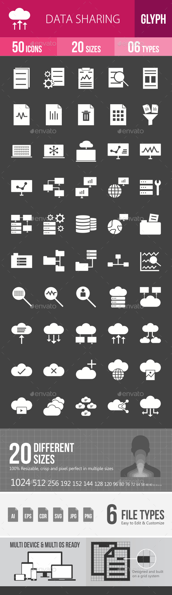 Data Sharing Glyph Inverted Icons - Icons