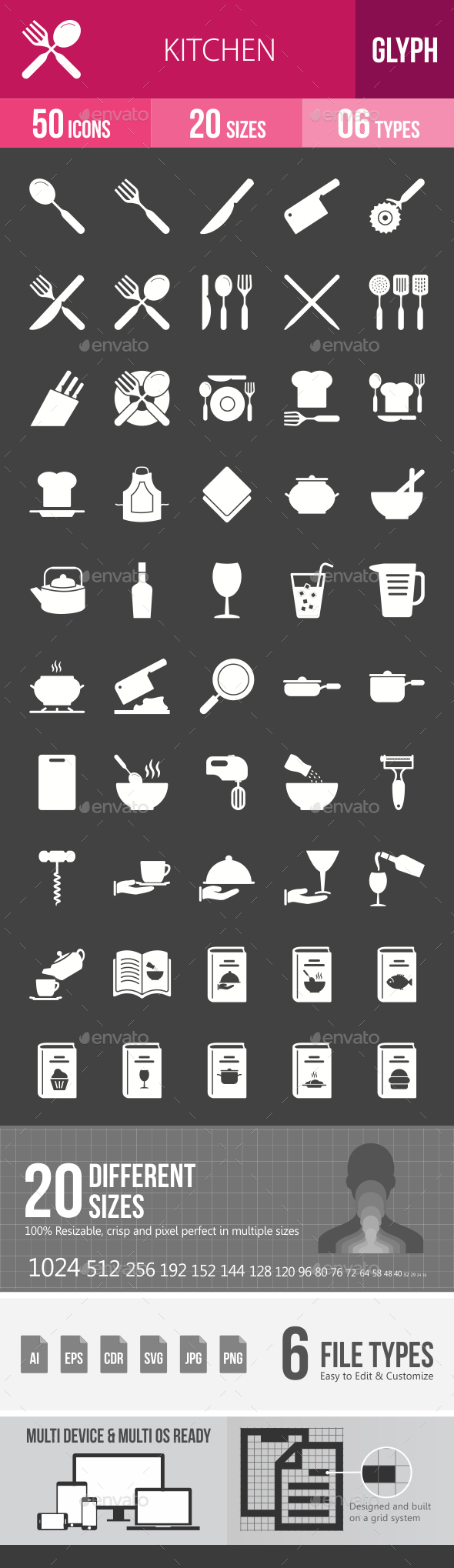 Kitchen Glyph Inverted Icons - Icons