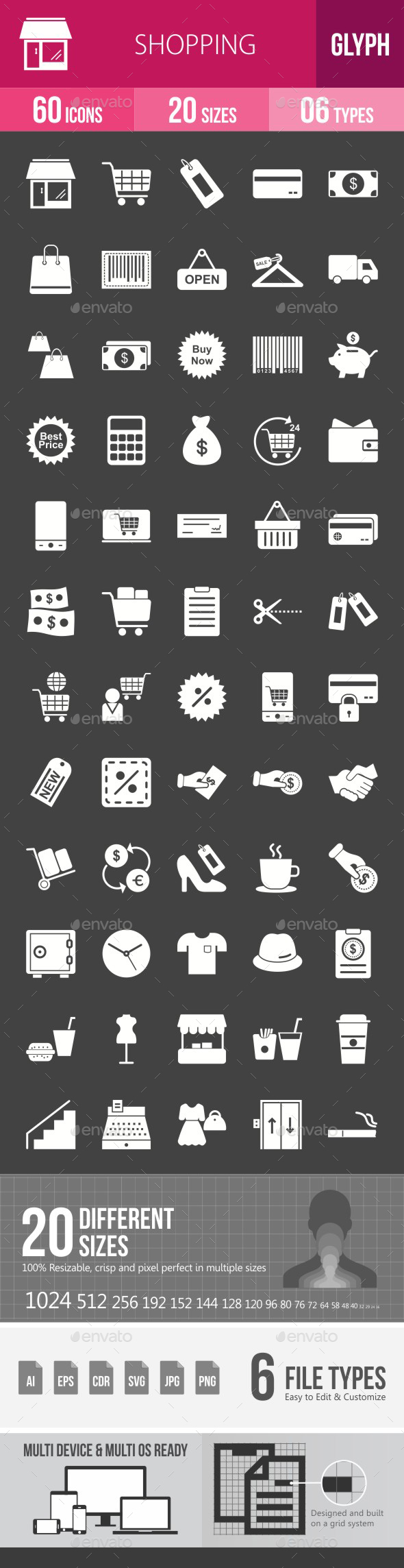 Shopping Glyph Inverted Icons - Icons