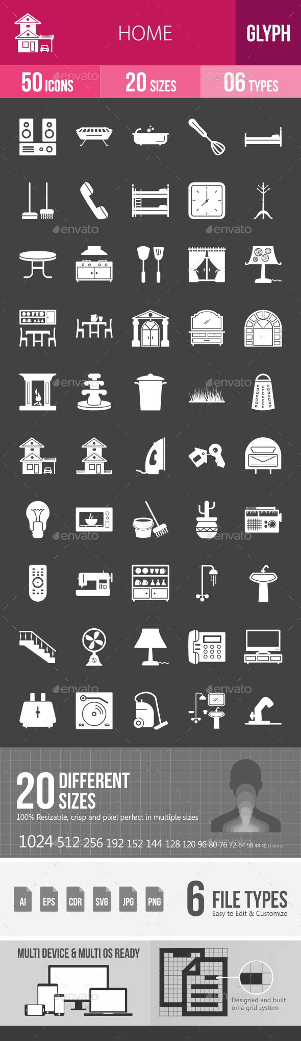 Home Glyph Inverted Icons - Icons