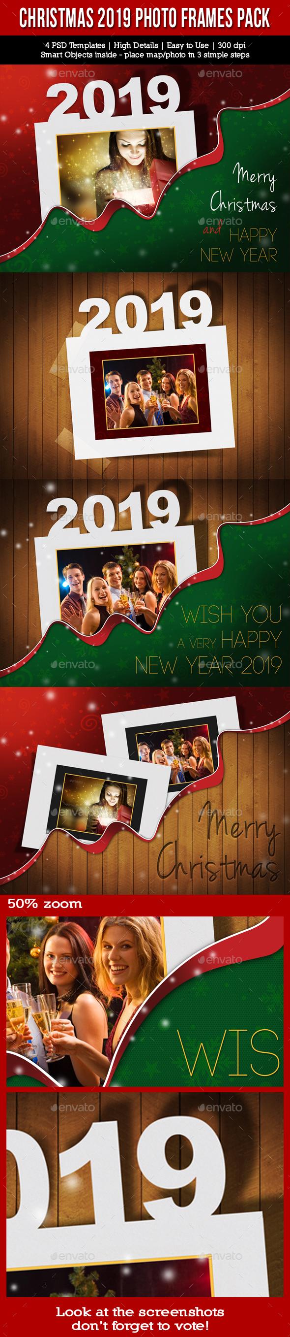 Christmas Holidays 2019 Photo Frames Pack - Seasonal Photo Templates