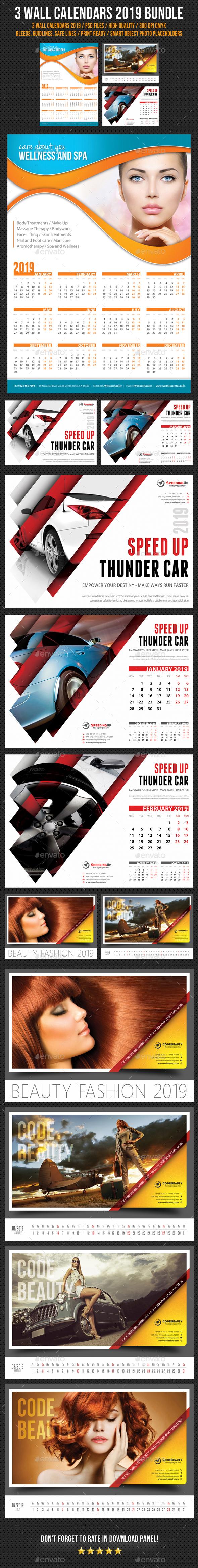 Wall Calendars 2019 Bundle V04 - Calendars Stationery