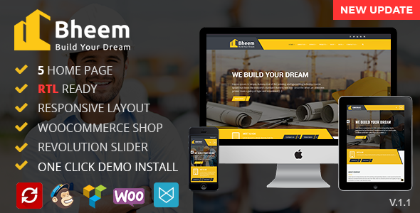 Bheem : Construction WordPress Theme RTL Ready - WordPress