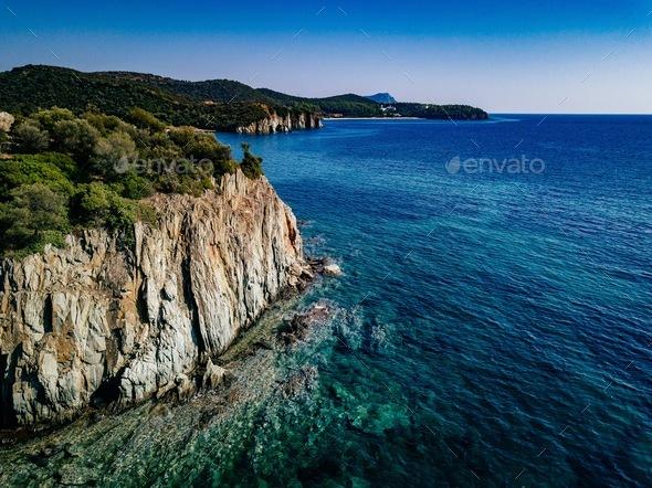 Aerial view of a rocky coastline Mediterranean Sea. Greece - Stock Photo - Images