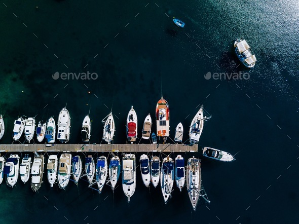 Aerial view of marina lot. Boats in the port in Greece. - Stock Photo - Images