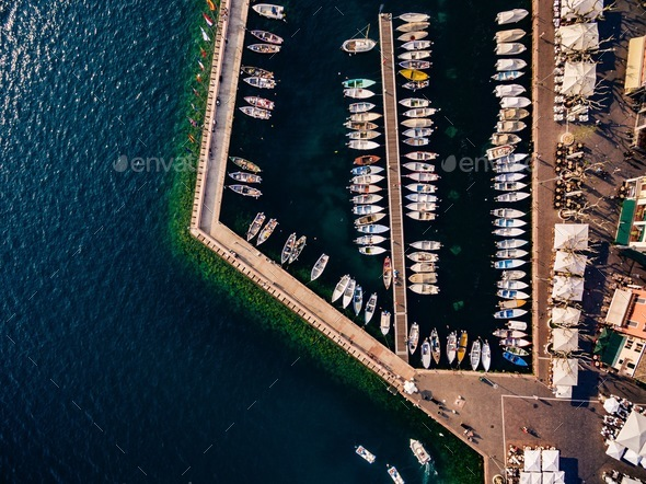 Aerial view of marina lot. Boats in the port in Italy. - Stock Photo - Images
