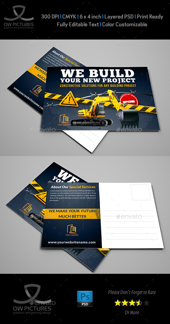 Construction Postcard Template Vol.3 - Cards & Invites Print Templates
