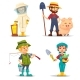 Happy Fisherman, Beekeeper and Farmer in Straw Hat - GraphicRiver Item for Sale