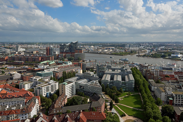 Aerial view of Hamburg city and habour - Stock Photo - Images