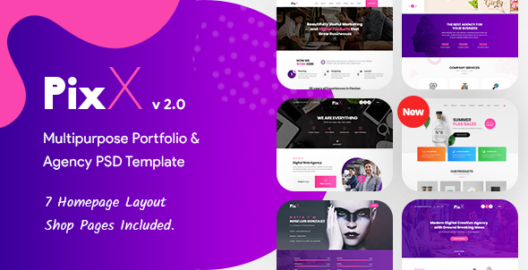 PixX — Multipurpose Portfolio & Agency PSD Template - Creative PSD Templates