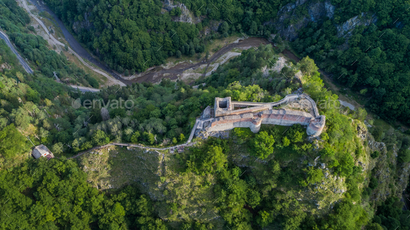 ruined Poenari Fortress on Mount Cetatea in Romania - Stock Photo - Images