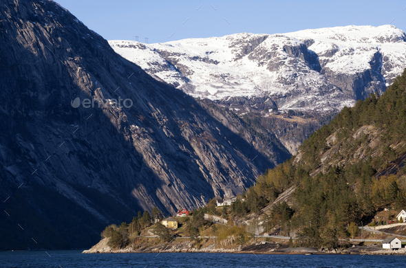 The Hardangerfjord near Eidfjord - Stock Photo - Images