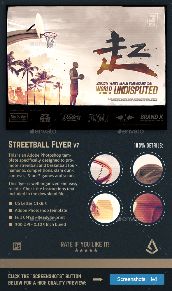 Streetball Flyer Playground Basketball Hoops Poster - Sports Events